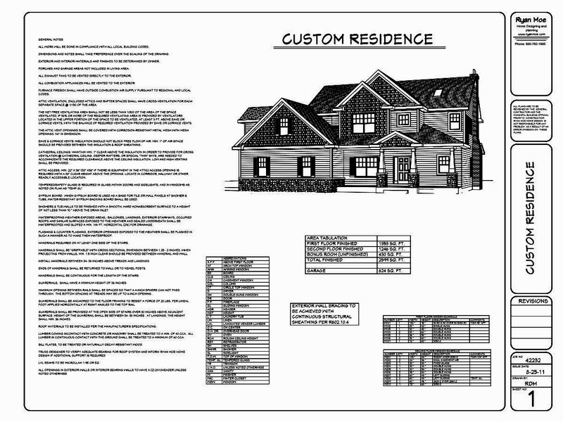 Sample Construction Plans  Ryan Moe Home Design